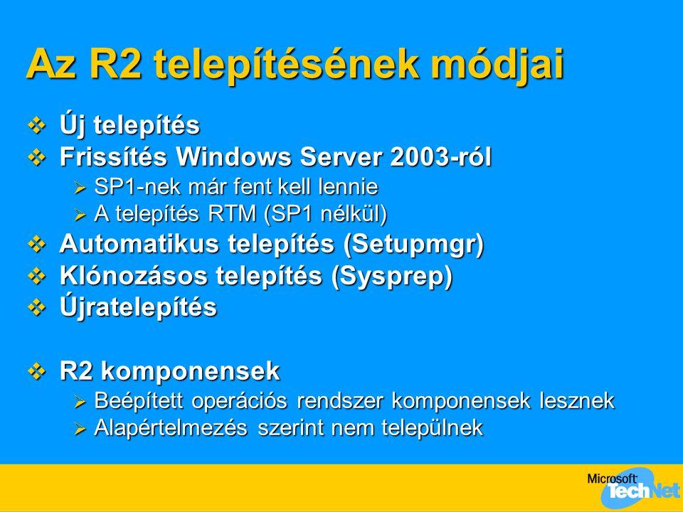 Az R2 telepítésének módjai  Új telepítés  Frissítés Windows Server 2003-ról  SP1-nek már fent kell lennie  A telepítés RTM (SP1 nélkül)  Automati