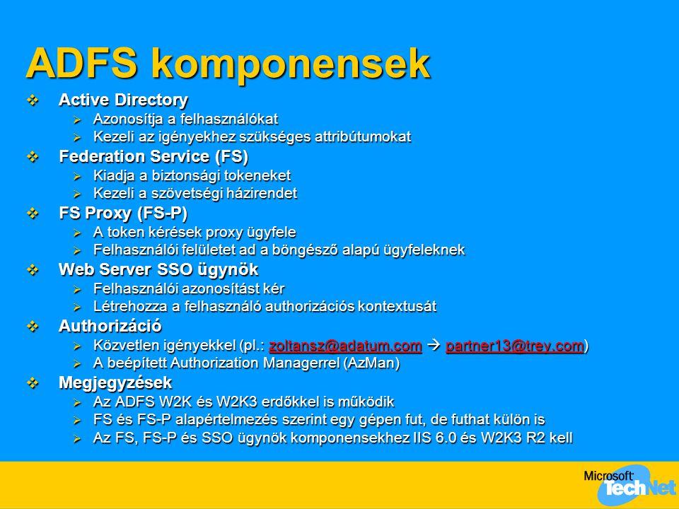 ADFS komponensek  Active Directory  Azonosítja a felhasználókat  Kezeli az igényekhez szükséges attribútumokat  Federation Service (FS)  Kiadja a