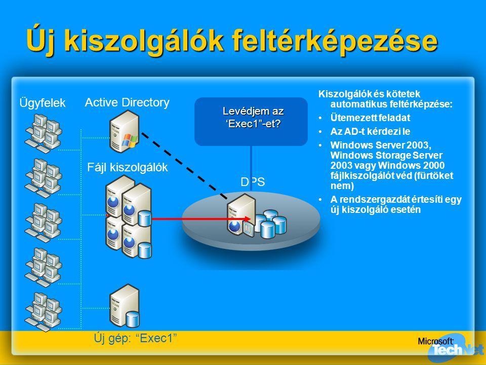 DPS Új kiszolgálók feltérképezése Fájl kiszolgálók Active Directory Ügyfelek Kiszolgálók és kötetek automatikus feltérképzése: Ütemezett feladat Az AD