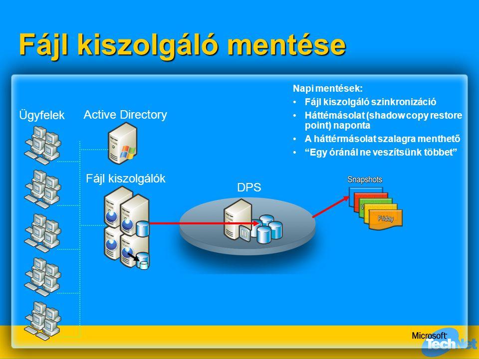 DPS Fájl kiszolgáló mentése Fájl kiszolgálók Active Directory Ügyfelek Napi mentések: Fájl kiszolgáló szinkronizáció Háttémásolat (shadow copy restore