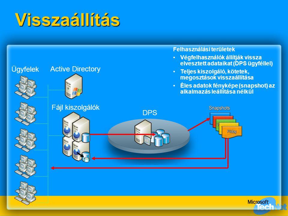 DPSVisszaállítás Fájl kiszolgálók Active Directory Ügyfelek Felhasználási területek Végfelhasználók állítják vissza elvesztett adataikat (DPS ügyfélle