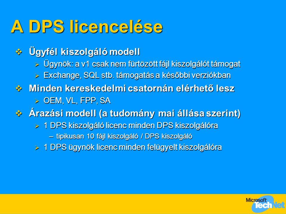 A DPS licencelése  Ügyfél kiszolgáló modell  Ügynök: a v1 csak nem fürtözött fájl kiszolgálót támogat  Exchange, SQL stb. támogatás a későbbi verzi