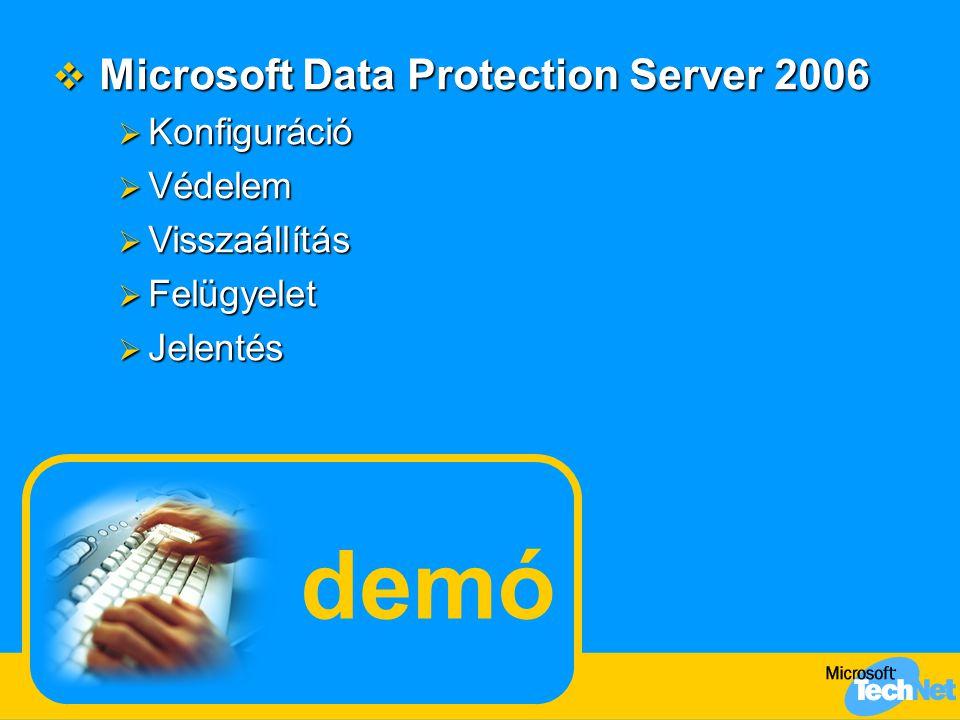 demó  Microsoft Data Protection Server 2006  Konfiguráció  Védelem  Visszaállítás  Felügyelet  Jelentés
