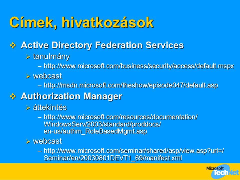 Címek, hivatkozások  Active Directory Federation Services  tanulmány –http://www.microsoft.com/business/security/access/default.mspx  webcast –http