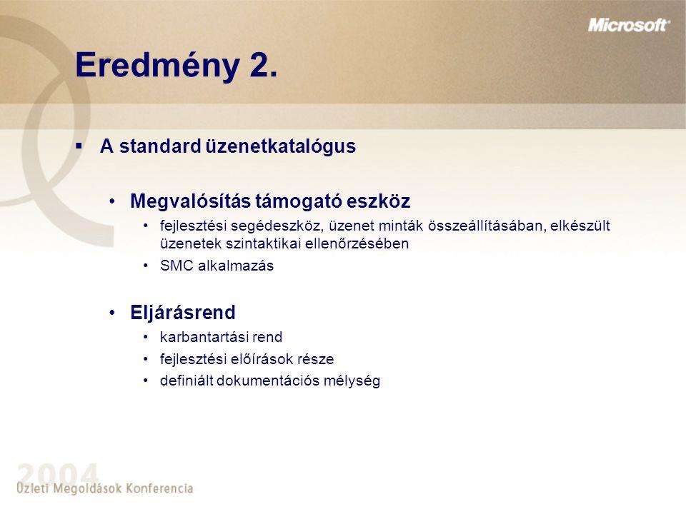Eredmény 2.  A standard üzenetkatalógus Megvalósítás támogató eszköz fejlesztési segédeszköz, üzenet minták összeállításában, elkészült üzenetek szin