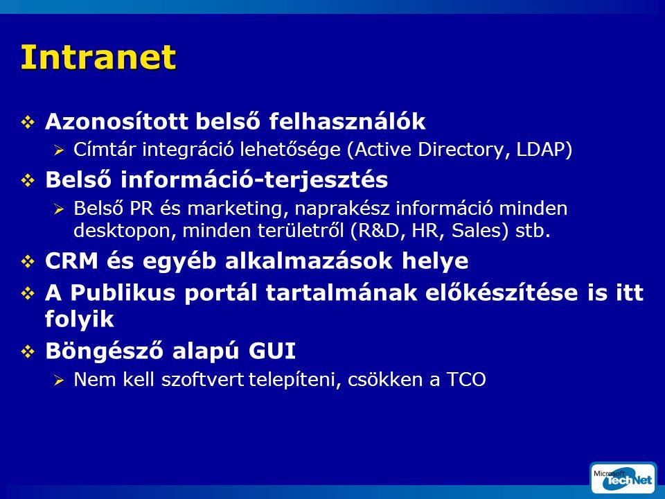 Intranet  Azonosított belső felhasználók  Címtár integráció lehetősége (Active Directory, LDAP)  Belső információ-terjesztés  Belső PR és marketing, naprakész információ minden desktopon, minden területről (R&D, HR, Sales) stb.