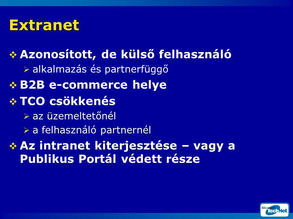 Extranet  Azonosított, de külső felhasználó  alkalmazás és partnerfüggő  B2B e-commerce helye  TCO csökkenés  az üzemeltetőnél  a felhasználó partnernél  Az intranet kiterjesztése – vagy a Publikus Portál védett része