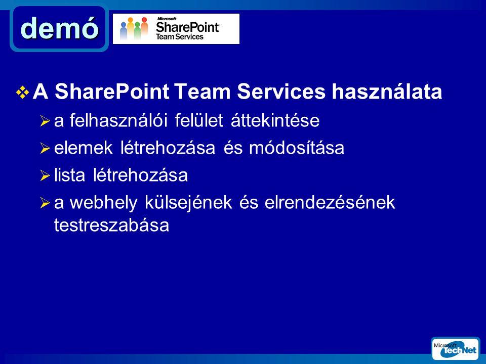  A SharePoint Team Services használata  a felhasználói felület áttekintése  elemek létrehozása és módosítása  lista létrehozása  a webhely külsejének és elrendezésének testreszabása demó