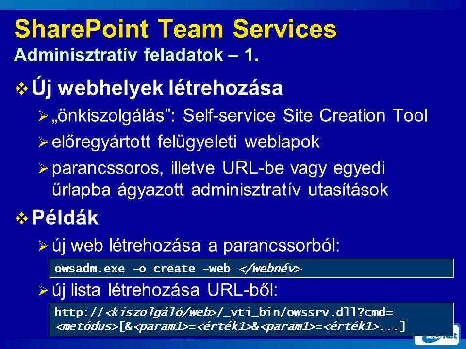 SharePoint Team Services Adminisztratív feladatok – 1.