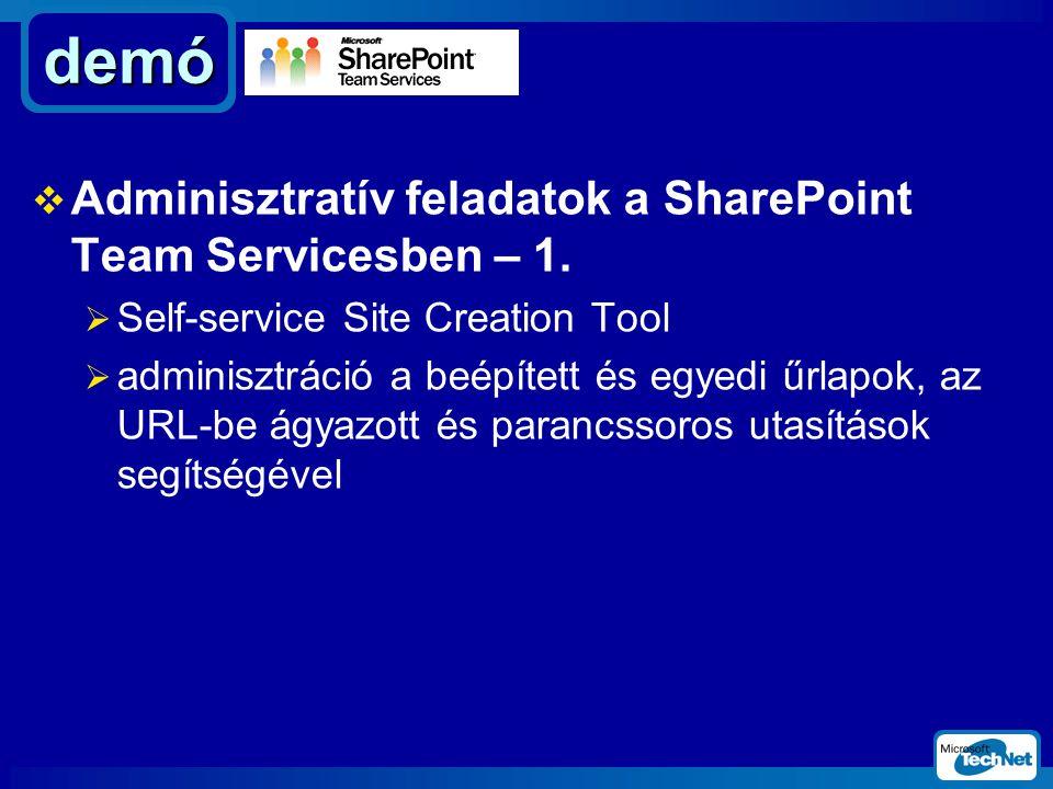  Adminisztratív feladatok a SharePoint Team Servicesben – 1.