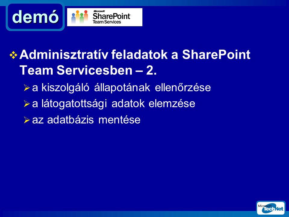  Adminisztratív feladatok a SharePoint Team Servicesben – 2.