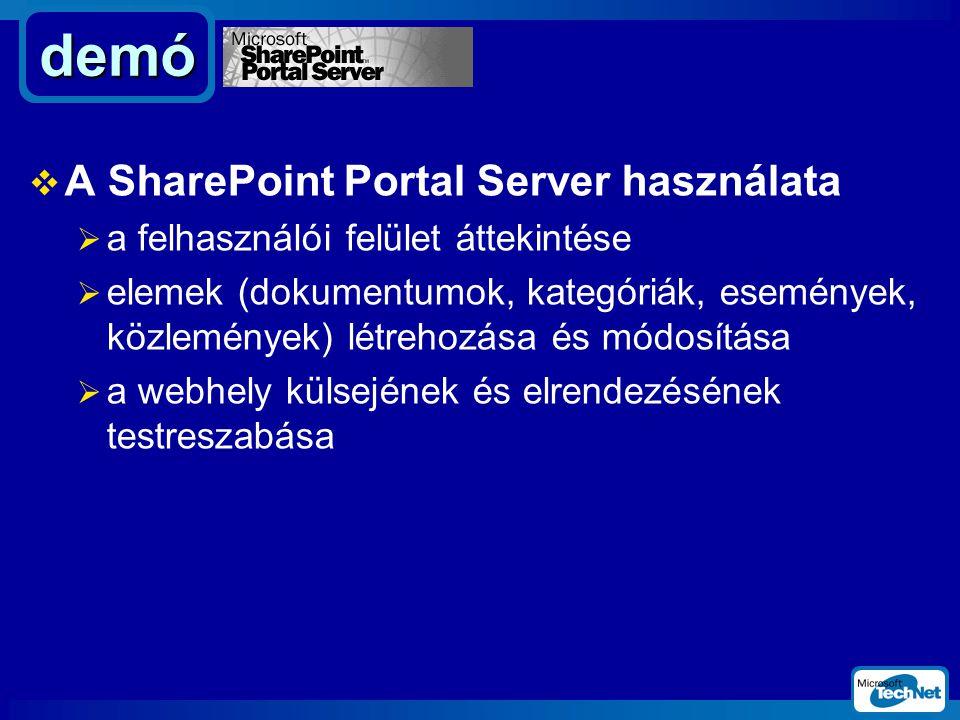  A SharePoint Portal Server használata  a felhasználói felület áttekintése  elemek (dokumentumok, kategóriák, események, közlemények) létrehozása és módosítása  a webhely külsejének és elrendezésének testreszabása demó