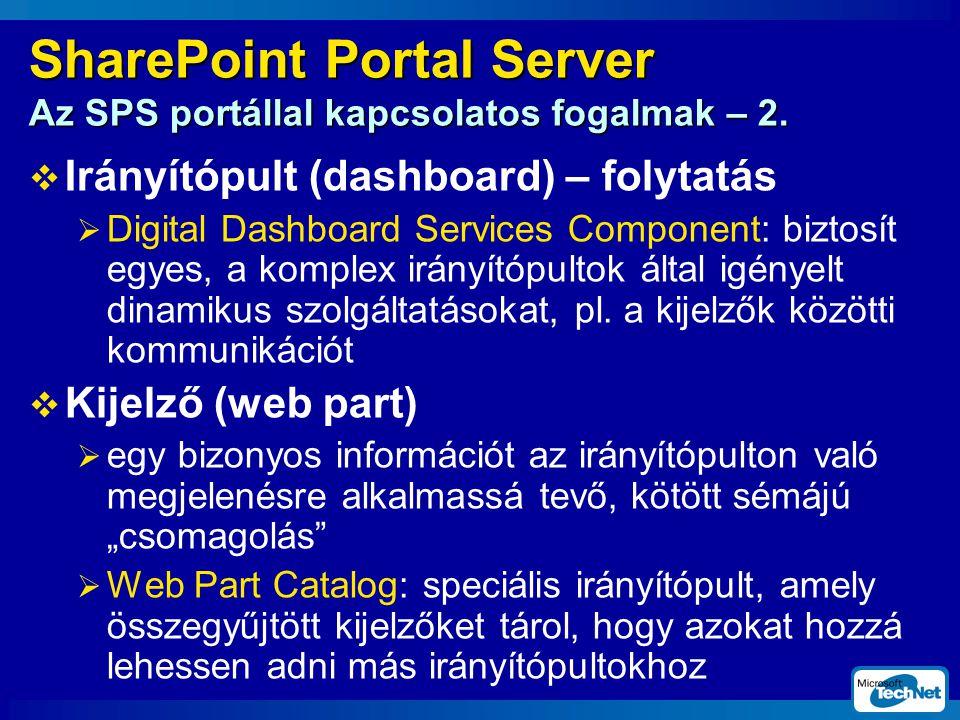 SharePoint Portal Server Az SPS portállal kapcsolatos fogalmak – 2.