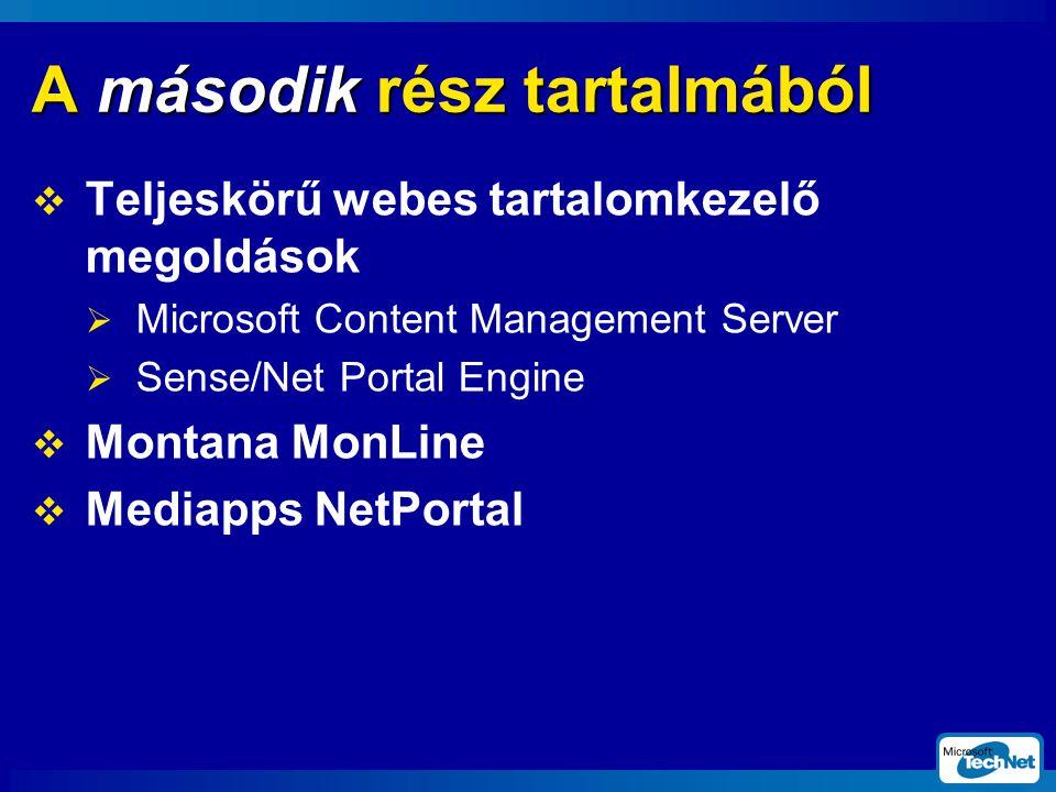  Content Management Server  webtartalom létrehozása és közzététele a böngészőben  sablonok készítése és alkalmazása  mappák, csatornák, sablonok, erőforrások és szerepek menedzselése a Site Builder segítségével demó