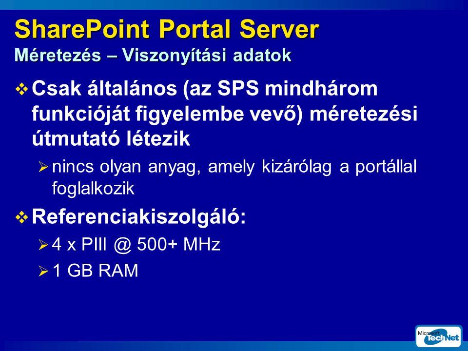 SharePoint Portal Server Méretezés – Viszonyítási adatok  Csak általános (az SPS mindhárom funkcióját figyelembe vevő) méretezési útmutató létezik  nincs olyan anyag, amely kizárólag a portállal foglalkozik  Referenciakiszolgáló:  4 x PIII @ 500+ MHz  1 GB RAM