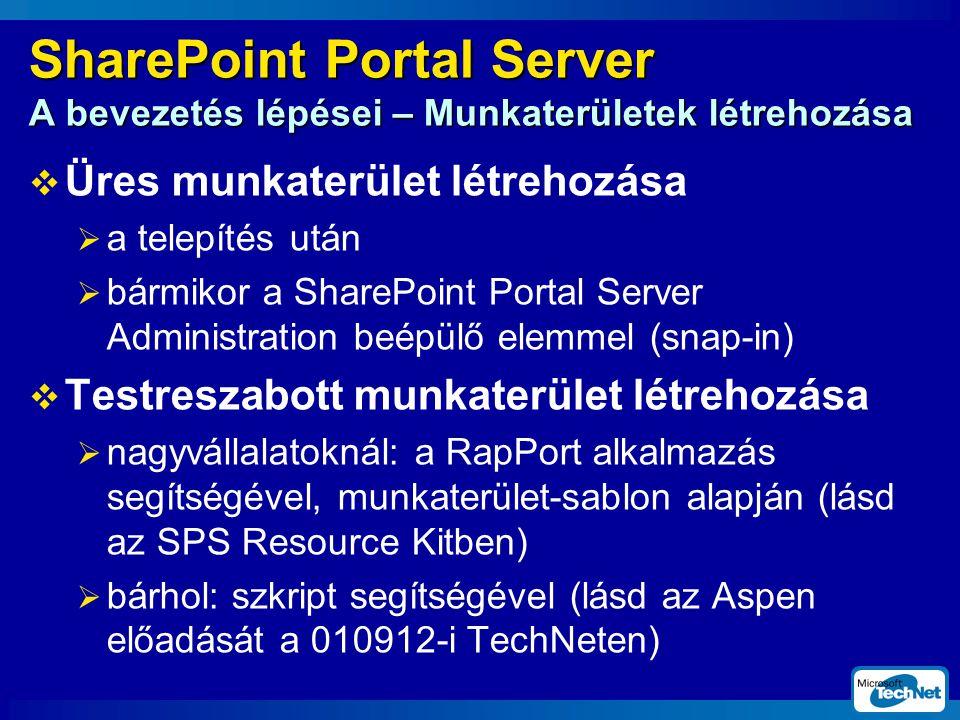 SharePoint Portal Server A bevezetés lépései – Munkaterületek létrehozása  Üres munkaterület létrehozása  a telepítés után  bármikor a SharePoint Portal Server Administration beépülő elemmel (snap-in)  Testreszabott munkaterület létrehozása  nagyvállalatoknál: a RapPort alkalmazás segítségével, munkaterület-sablon alapján (lásd az SPS Resource Kitben)  bárhol: szkript segítségével (lásd az Aspen előadását a 010912-i TechNeten)