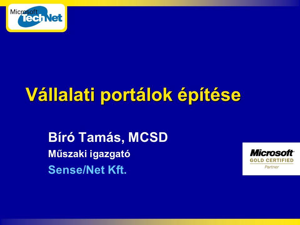 Sense/Net Bemutatkozás  100% Magyar menedzsment tulajdonú  6 éve foglalkozunk fejlesztéssel  3 éve vagyunk Microsoft partnerek  Első Microsoft Gold Certified Partner for E-commerce Solutions  www.sensenet.hu www.sensenet.hu  bt@sensenet.hu bt@sensenet.hu