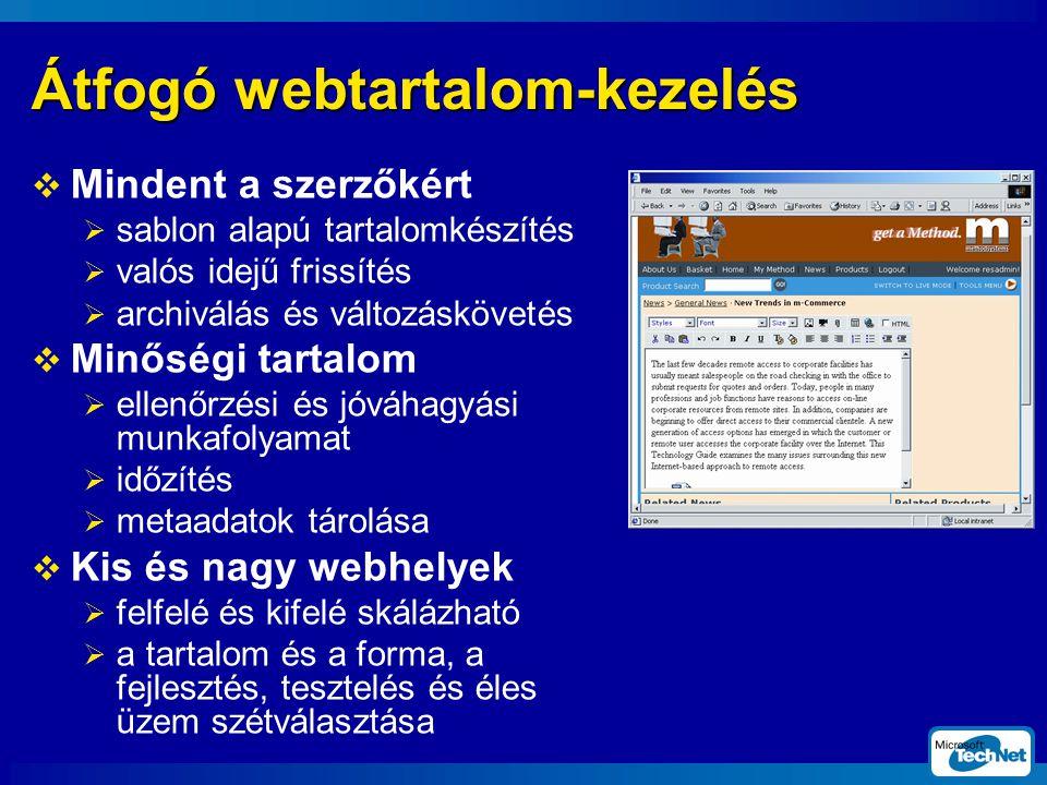 Átfogó webtartalom-kezelés  Mindent a szerzőkért  sablon alapú tartalomkészítés  valós idejű frissítés  archiválás és változáskövetés  Minőségi tartalom  ellenőrzési és jóváhagyási munkafolyamat  időzítés  metaadatok tárolása  Kis és nagy webhelyek  felfelé és kifelé skálázható  a tartalom és a forma, a fejlesztés, tesztelés és éles üzem szétválasztása