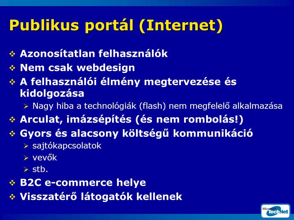 Publikus portál (Internet)  Azonosítatlan felhasználók  Nem csak webdesign  A felhasználói élmény megtervezése és kidolgozása  Nagy hiba a technológiák (flash) nem megfelelő alkalmazása  Arculat, imázsépítés (és nem rombolás!)  Gyors és alacsony költségű kommunikáció  sajtókapcsolatok  vevők  stb.