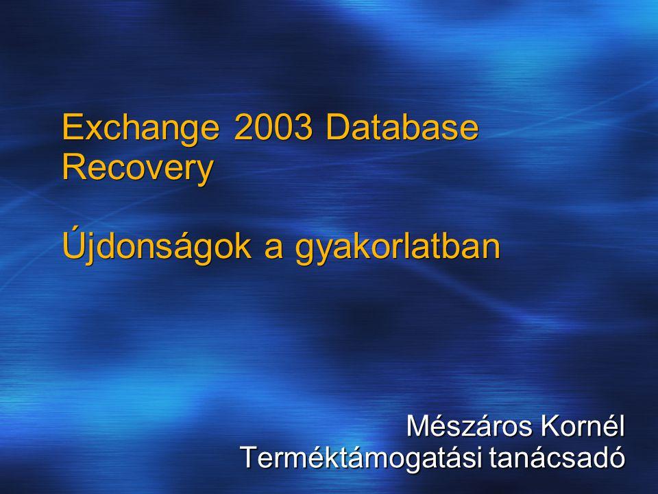 Exchange 2003 Database Recovery Újdonságok a gyakorlatban Mészáros Kornél Terméktámogatási tanácsadó