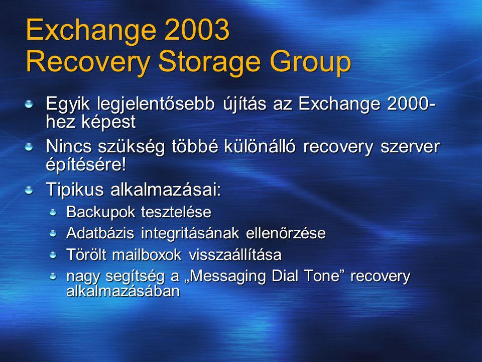 Exchange 2003 Recovery Storage Group Egyik legjelentősebb újítás az Exchange 2000- hez képest Nincs szükség többé különálló recovery szerver építésére.