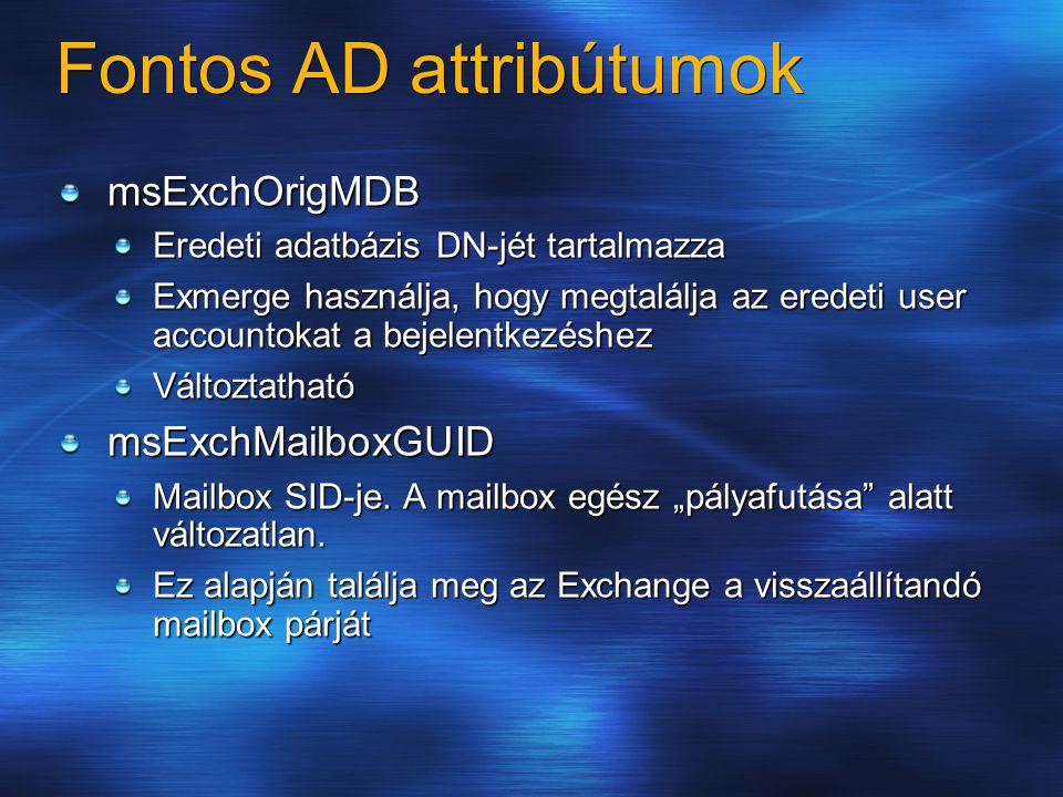 Fontos AD attribútumok msExchOrigMDB Eredeti adatbázis DN-jét tartalmazza Exmerge használja, hogy megtalálja az eredeti user accountokat a bejelentkezéshez VáltoztathatómsExchMailboxGUID Mailbox SID-je.