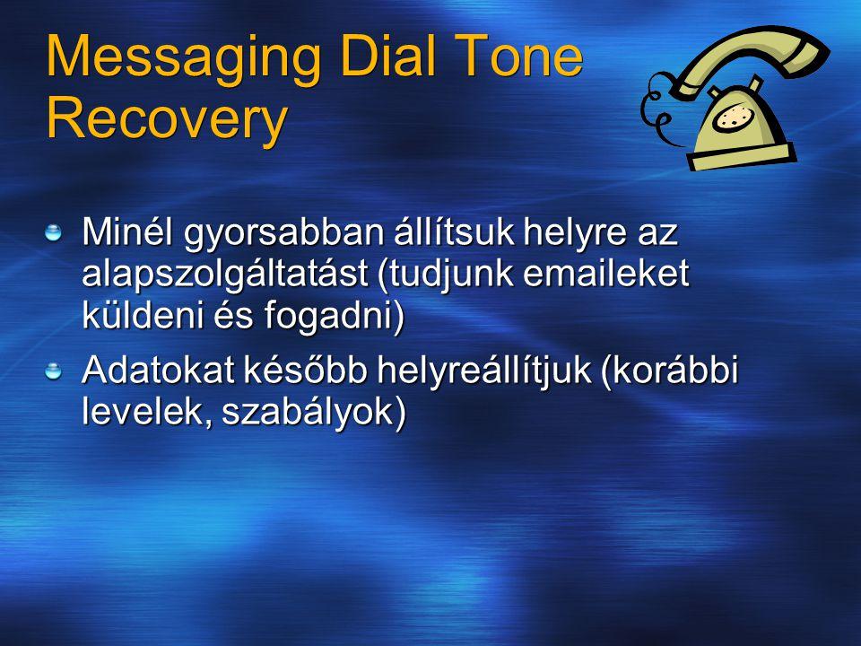 Messaging Dial Tone Recovery Minél gyorsabban állítsuk helyre az alapszolgáltatást (tudjunk emaileket küldeni és fogadni) Adatokat később helyreállítjuk (korábbi levelek, szabályok)