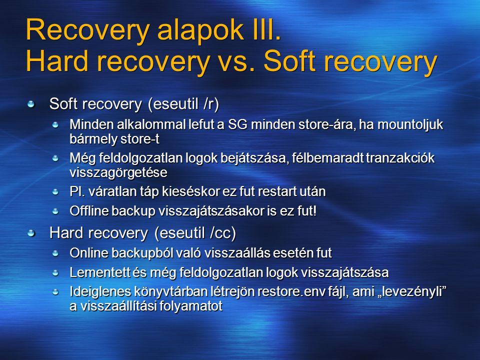 Recovery alapok III. Hard recovery vs.