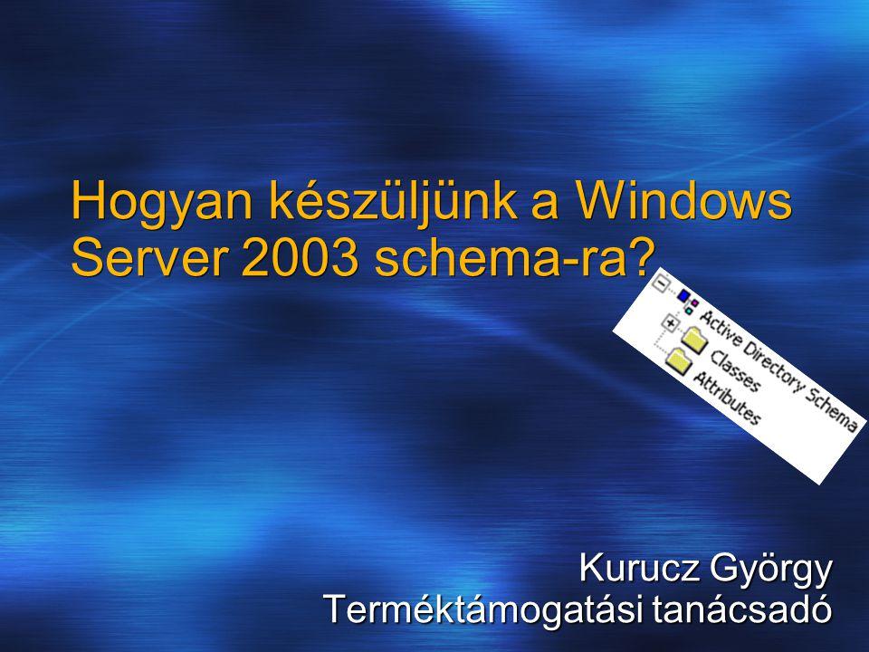 Kurucz György Terméktámogatási tanácsadó Hogyan készüljünk a Windows Server 2003 schema-ra?