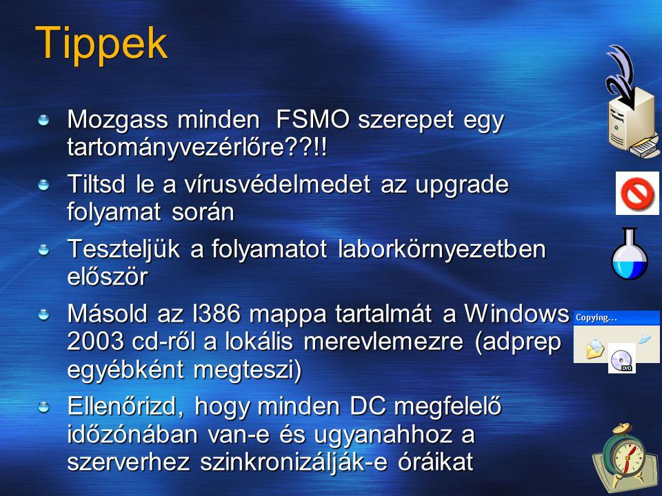 Tippek Mozgass minden FSMO szerepet egy tartományvezérlőre??!! Tiltsd le a vírusvédelmedet az upgrade folyamat során Teszteljük a folyamatot laborkörn
