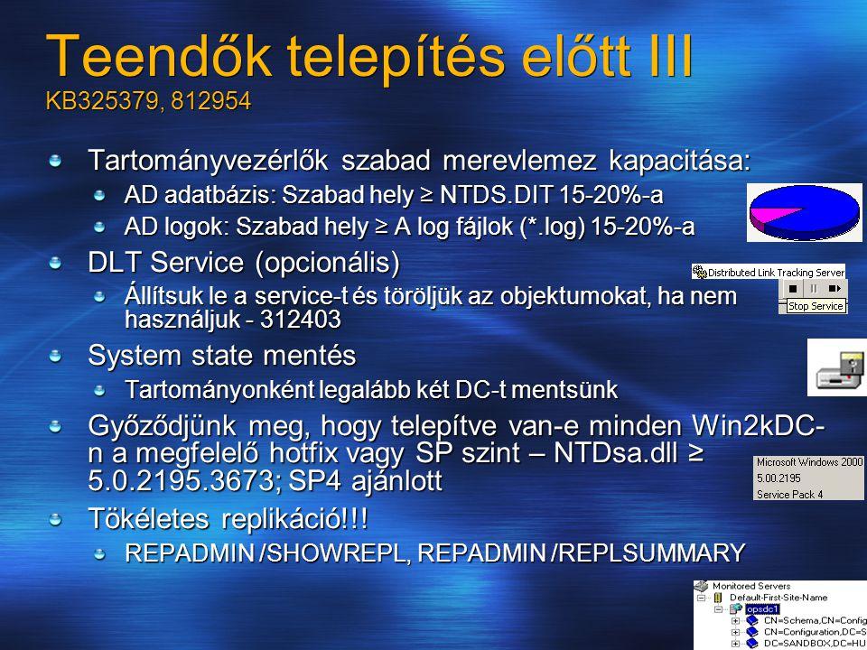 Teendők telepítés előtt III KB325379, 812954 Tartományvezérlők szabad merevlemez kapacitása: AD adatbázis: Szabad hely ≥ NTDS.DIT 15-20%-a AD logok: Szabad hely ≥ A log fájlok (*.log) 15-20%-a DLT Service (opcionális) Állítsuk le a service-t és töröljük az objektumokat, ha nem használjuk - 312403 System state mentés Tartományonként legalább két DC-t mentsünk Győződjünk meg, hogy telepítve van-e minden Win2kDC- n a megfelelő hotfix vagy SP szint – NTDsa.dll ≥ 5.0.2195.3673; SP4 ajánlott Tökéletes replikáció!!.