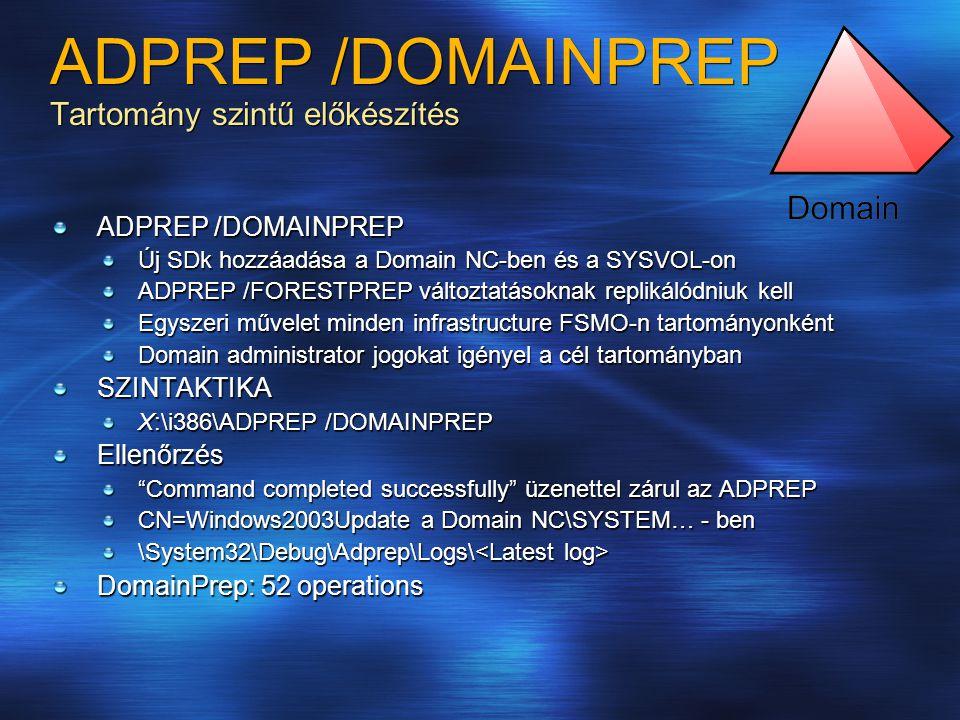 ADPREP /DOMAINPREP Tartomány szintű előkészítés ADPREP /DOMAINPREP Új SDk hozzáadása a Domain NC-ben és a SYSVOL-on ADPREP /FORESTPREP változtatásoknak replikálódniuk kell Egyszeri művelet minden infrastructure FSMO-n tartományonként Domain administrator jogokat igényel a cél tartományban SZINTAKTIKA X:\i386\ADPREP /DOMAINPREP Ellenőrzés Command completed successfully üzenettel zárul az ADPREP CN=Windows2003Update a Domain NC\SYSTEM… - ben \System32\Debug\Adprep\Logs\ \System32\Debug\Adprep\Logs\ DomainPrep: 52 operations
