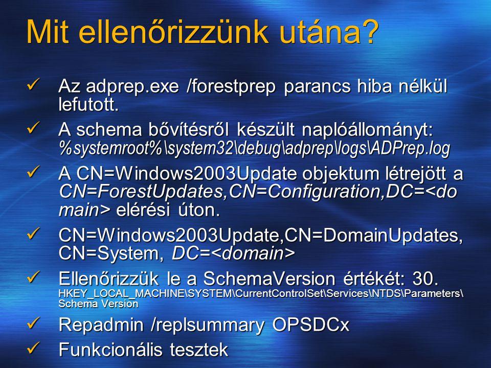 Érdekes események Farkast kiált (Error):A Schema bővítés futtatása közben az alábbi hibaüzenetet az eseménynaplóban figyelmen kívül hagyhatjuk: Event Type : Error Event Source : NTDS General Event Category: Internal Processing Event ID : 1153 User : Everyone Computer : User : Everyone Computer : Description: Class identifier 655562 (class name msWMI-MergeablePolicyTemplate) has an invalid superclass 655560.