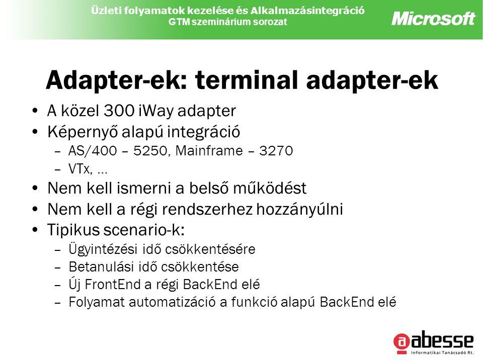 Üzleti folyamatok kezelése és Alkalmazásintegráció GTM szeminárium sorozat Adapter-ek: terminal adapter-ek A közel 300 iWay adapter Képernyő alapú integráció –AS/400 – 5250, Mainframe – 3270 –VTx, … Nem kell ismerni a belső működést Nem kell a régi rendszerhez hozzányúlni Tipikus scenario-k: –Ügyintézési idő csökkentésére –Betanulási idő csökkentése –Új FrontEnd a régi BackEnd elé –Folyamat automatizáció a funkció alapú BackEnd elé