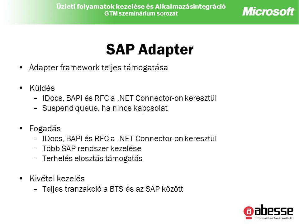 Üzleti folyamatok kezelése és Alkalmazásintegráció GTM szeminárium sorozat SAP Adapter Adapter framework teljes támogatása Küldés –IDocs, BAPI és RFC a.NET Connector-on keresztül –Suspend queue, ha nincs kapcsolat Fogadás –IDocs, BAPI és RFC a.NET Connector-on keresztül –Több SAP rendszer kezelése –Terhelés elosztás támogatás Kivétel kezelés –Teljes tranzakció a BTS és az SAP között