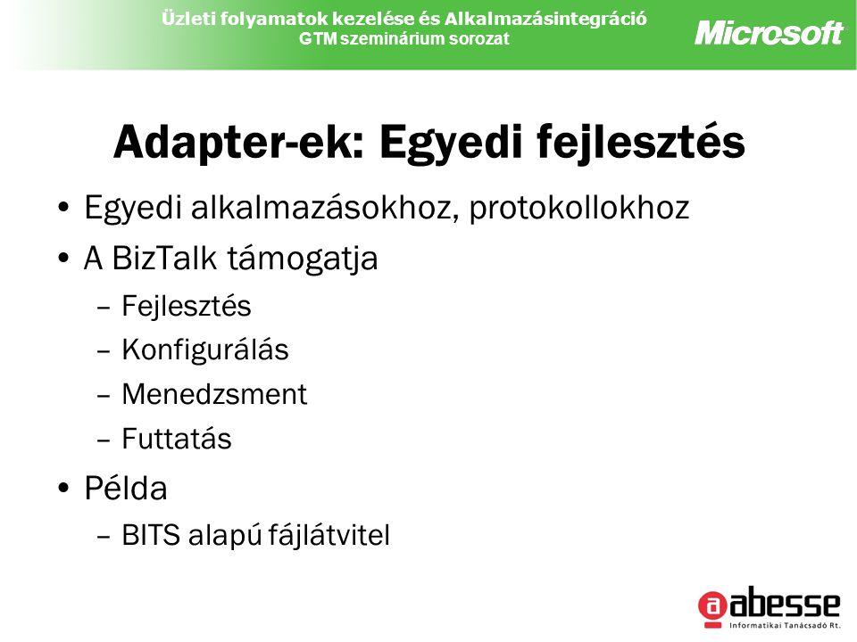 Üzleti folyamatok kezelése és Alkalmazásintegráció GTM szeminárium sorozat Adapter-ek: Egyedi fejlesztés Egyedi alkalmazásokhoz, protokollokhoz A BizTalk támogatja –Fejlesztés –Konfigurálás –Menedzsment –Futtatás Példa –BITS alapú fájlátvitel