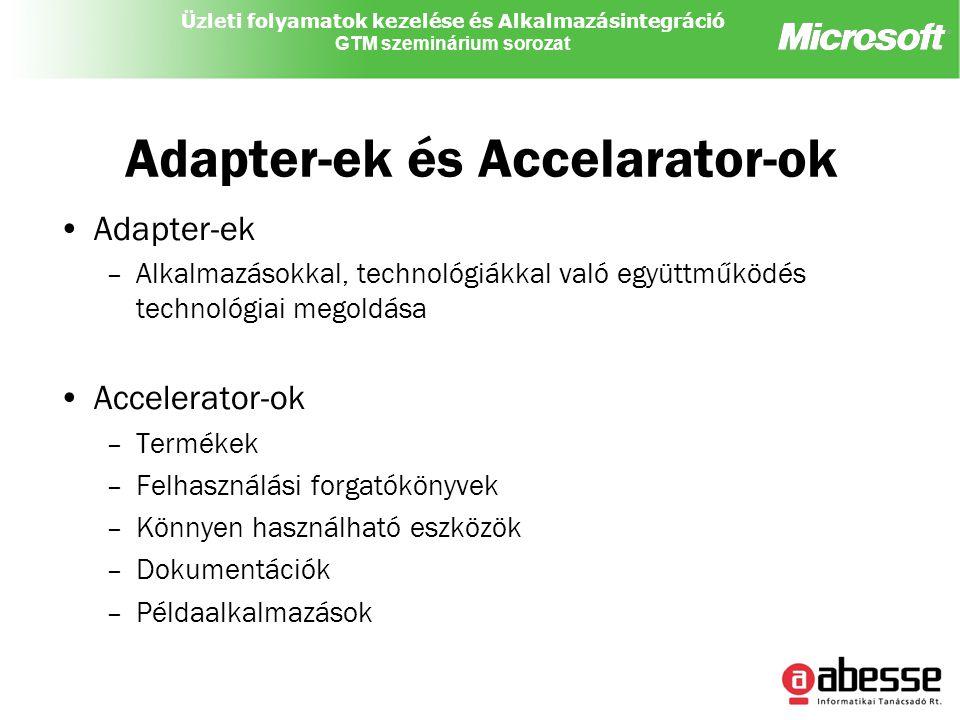 Üzleti folyamatok kezelése és Alkalmazásintegráció GTM szeminárium sorozat Adapter-ek és Accelarator-ok Adapter-ek –Alkalmazásokkal, technológiákkal való együttműködés technológiai megoldása Accelerator-ok –Termékek –Felhasználási forgatókönyvek –Könnyen használható eszközök –Dokumentációk –Példaalkalmazások