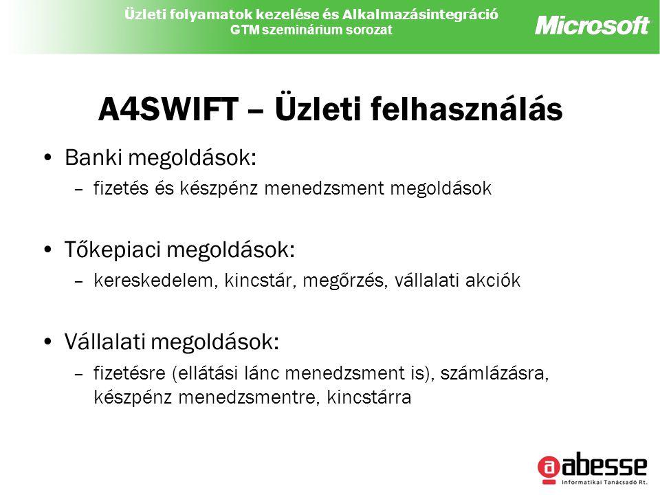 Üzleti folyamatok kezelése és Alkalmazásintegráció GTM szeminárium sorozat A4SWIFT – Üzleti felhasználás Banki megoldások: –fizetés és készpénz menedzsment megoldások Tőkepiaci megoldások: –kereskedelem, kincstár, megőrzés, vállalati akciók Vállalati megoldások: –fizetésre (ellátási lánc menedzsment is), számlázásra, készpénz menedzsmentre, kincstárra