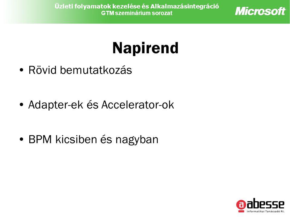 Üzleti folyamatok kezelése és Alkalmazásintegráció GTM szeminárium sorozat Napirend Rövid bemutatkozás Adapter-ek és Accelerator-ok BPM kicsiben és nagyban