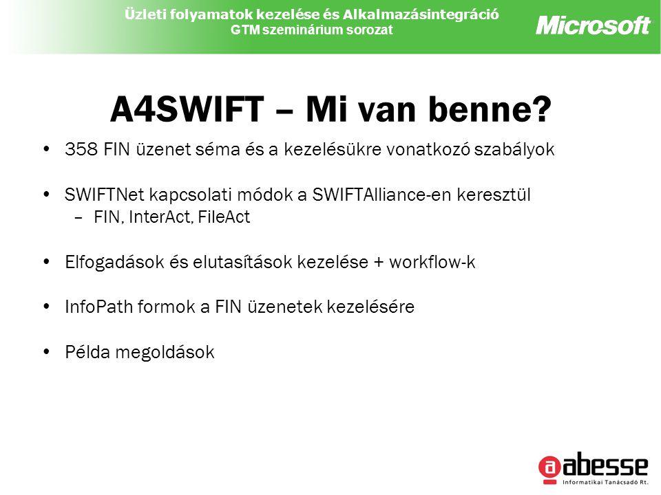 Üzleti folyamatok kezelése és Alkalmazásintegráció GTM szeminárium sorozat A4SWIFT – Mi van benne.
