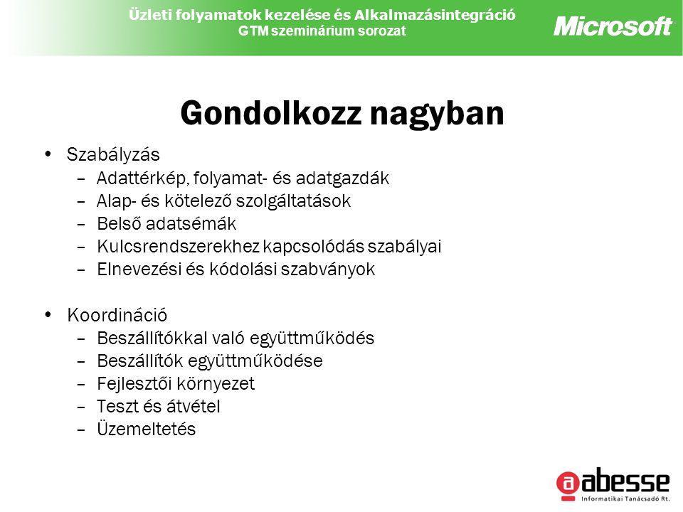 Üzleti folyamatok kezelése és Alkalmazásintegráció GTM szeminárium sorozat Gondolkozz nagyban Szabályzás –Adattérkép, folyamat- és adatgazdák –Alap- és kötelező szolgáltatások –Belső adatsémák –Kulcsrendszerekhez kapcsolódás szabályai –Elnevezési és kódolási szabványok Koordináció –Beszállítókkal való együttműködés –Beszállítók együttműködése –Fejlesztői környezet –Teszt és átvétel –Üzemeltetés