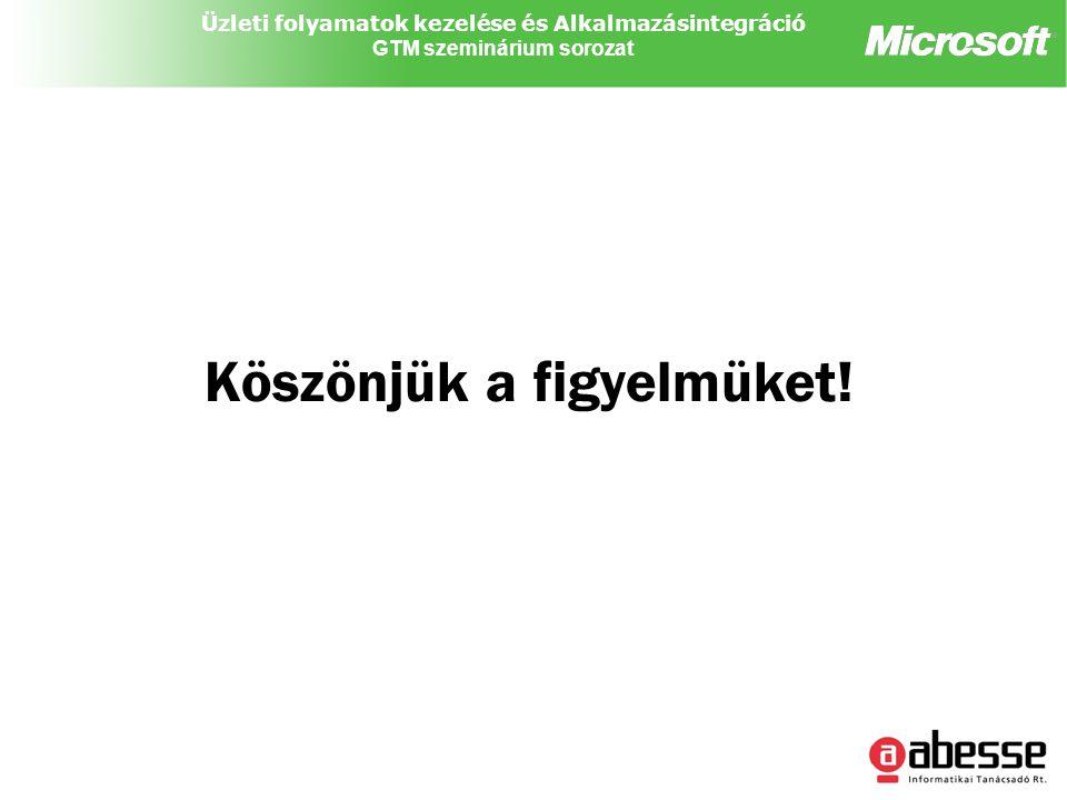 Üzleti folyamatok kezelése és Alkalmazásintegráció GTM szeminárium sorozat Köszönjük a figyelmüket!