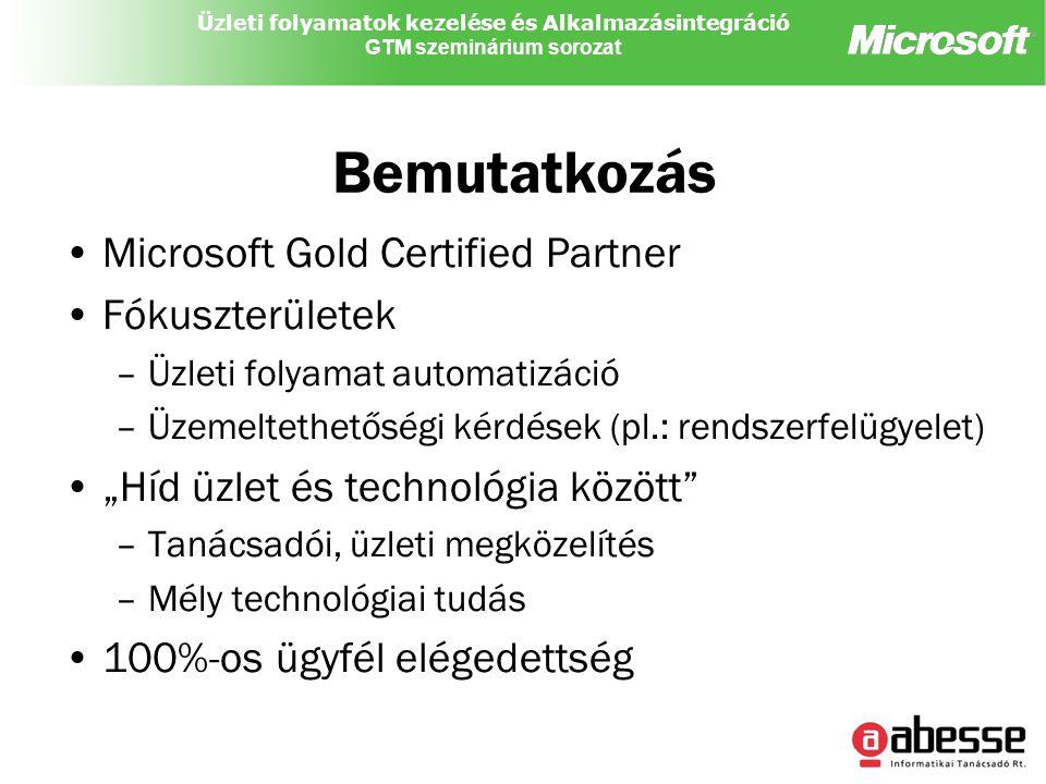 """Üzleti folyamatok kezelése és Alkalmazásintegráció GTM szeminárium sorozat Bemutatkozás Microsoft Gold Certified Partner Fókuszterületek –Üzleti folyamat automatizáció –Üzemeltethetőségi kérdések (pl.: rendszerfelügyelet) """"Híd üzlet és technológia között –Tanácsadói, üzleti megközelítés –Mély technológiai tudás 100%-os ügyfél elégedettség"""