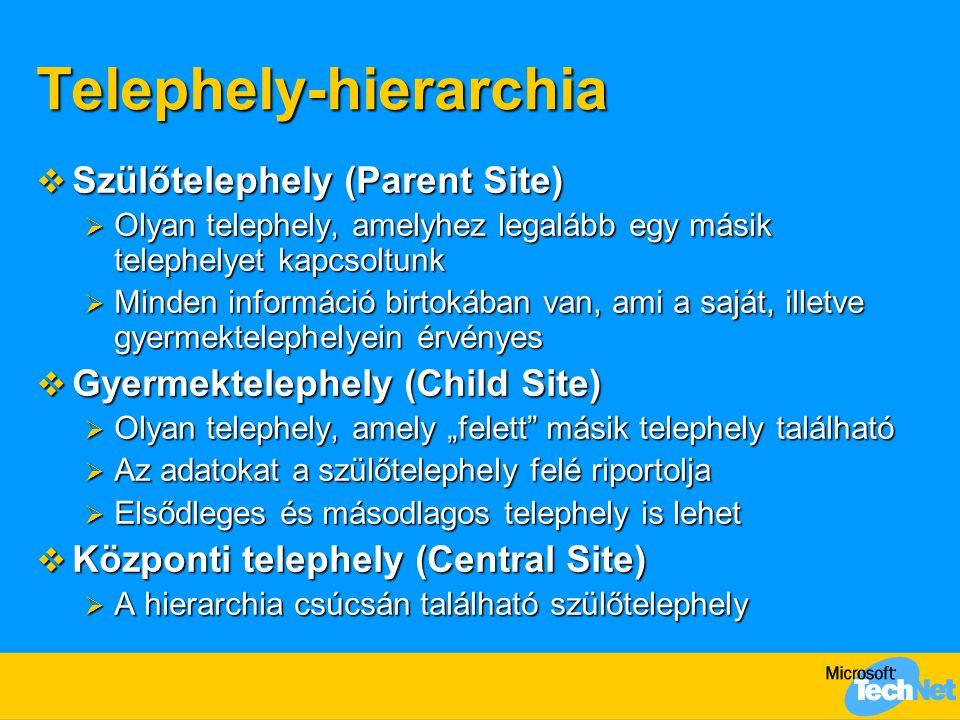 """Telephely-hierarchia  Szülőtelephely (Parent Site)  Olyan telephely, amelyhez legalább egy másik telephelyet kapcsoltunk  Minden információ birtokában van, ami a saját, illetve gyermektelephelyein érvényes  Gyermektelephely (Child Site)  Olyan telephely, amely """"felett másik telephely található  Az adatokat a szülőtelephely felé riportolja  Elsődleges és másodlagos telephely is lehet  Központi telephely (Central Site)  A hierarchia csúcsán található szülőtelephely"""