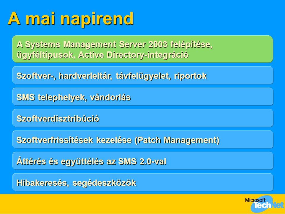 A mai napirend A Systems Management Server 2003 felépítése, ügyféltípusok, Active Directory-integráció Szoftver-, hardverleltár, távfelügyelet, riportok SMS telephelyek, vándorlás Szoftverfrissítések kezelése (Patch Management) Szoftverdisztribúció Áttérés és együttélés az SMS 2.0-val Hibakeresés, segédeszközök