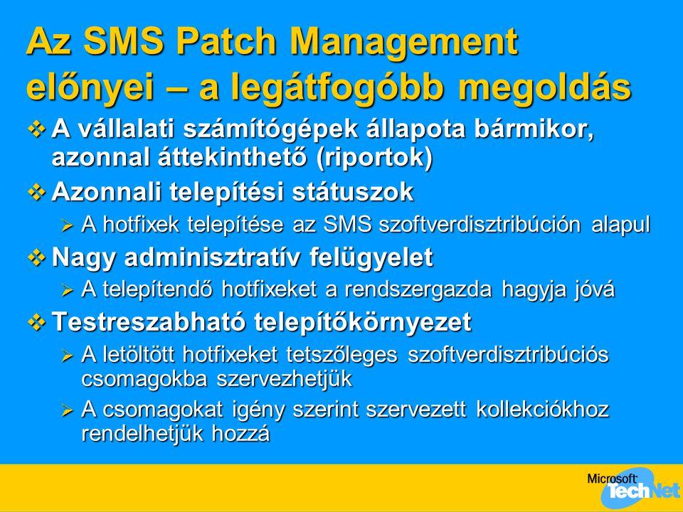 Az SMS Patch Management előnyei – a legátfogóbb megoldás  A vállalati számítógépek állapota bármikor, azonnal áttekinthető (riportok)  Azonnali telepítési státuszok  A hotfixek telepítése az SMS szoftverdisztribúción alapul  Nagy adminisztratív felügyelet  A telepítendő hotfixeket a rendszergazda hagyja jóvá  Testreszabható telepítőkörnyezet  A letöltött hotfixeket tetszőleges szoftverdisztribúciós csomagokba szervezhetjük  A csomagokat igény szerint szervezett kollekciókhoz rendelhetjük hozzá