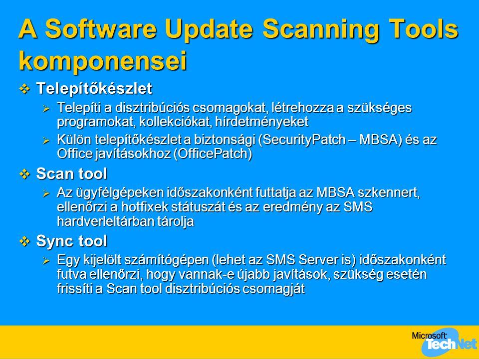 A Software Update Scanning Tools komponensei  Telepítőkészlet  Telepíti a disztribúciós csomagokat, létrehozza a szükséges programokat, kollekciókat, hírdetményeket  Külön telepítőkészlet a biztonsági (SecurityPatch – MBSA) és az Office javításokhoz (OfficePatch)  Scan tool  Az ügyfélgépeken időszakonként futtatja az MBSA szkennert, ellenőrzi a hotfixek státuszát és az eredmény az SMS hardverleltárban tárolja  Sync tool  Egy kijelölt számítógépen (lehet az SMS Server is) időszakonként futva ellenőrzi, hogy vannak-e újabb javítások, szükség esetén frissíti a Scan tool disztribúciós csomagját