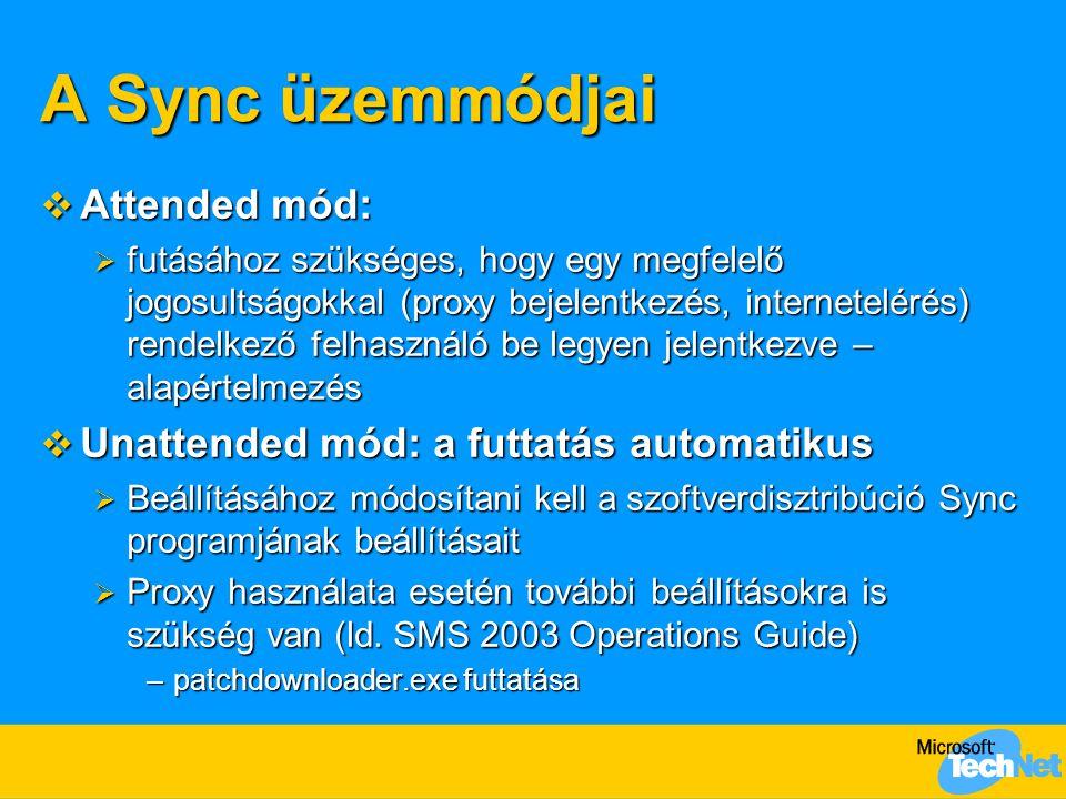 A Sync üzemmódjai  Attended mód:  futásához szükséges, hogy egy megfelelő jogosultságokkal (proxy bejelentkezés, internetelérés) rendelkező felhasználó be legyen jelentkezve – alapértelmezés  Unattended mód: a futtatás automatikus  Beállításához módosítani kell a szoftverdisztribúció Sync programjának beállításait  Proxy használata esetén további beállításokra is szükség van (ld.