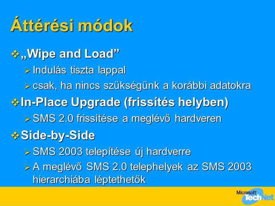 """Áttérési módok  """"Wipe and Load  Indulás tiszta lappal  csak, ha nincs szükségünk a korábbi adatokra  In-Place Upgrade (frissítés helyben)  SMS 2.0 frissítése a meglévő hardveren  Side-by-Side  SMS 2003 telepítése új hardverre  A meglévő SMS 2.0 telephelyek az SMS 2003 hierarchiába léptethetők"""