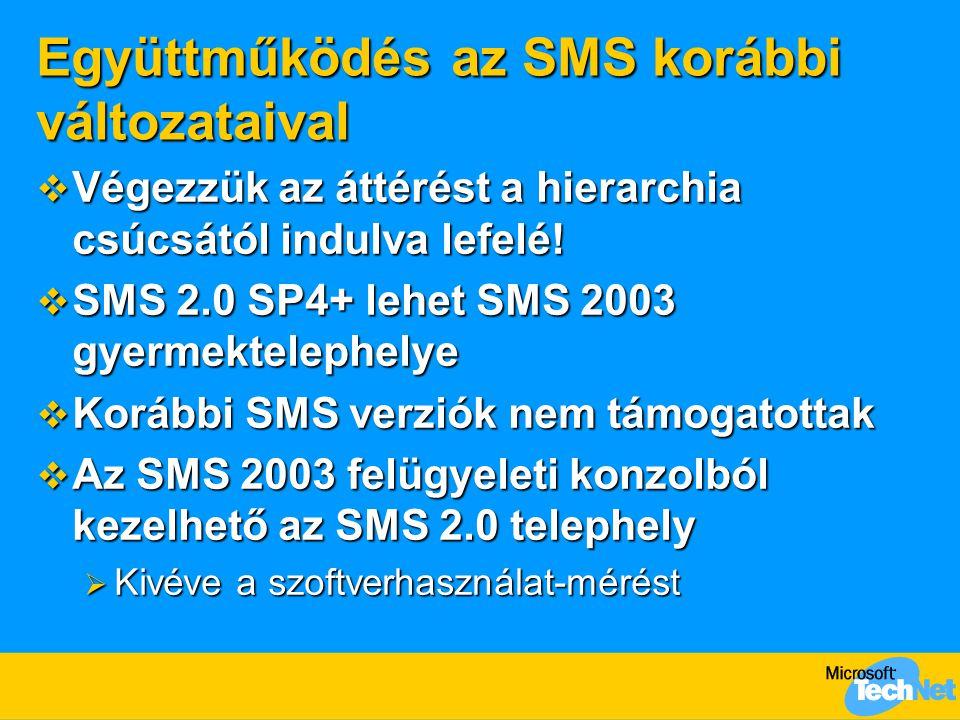Együttműködés az SMS korábbi változataival  Végezzük az áttérést a hierarchia csúcsától indulva lefelé.